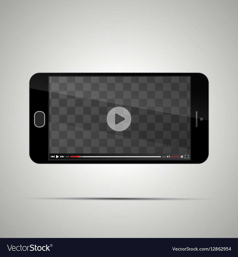 Mock up of realistic glossy smartphone with vector image