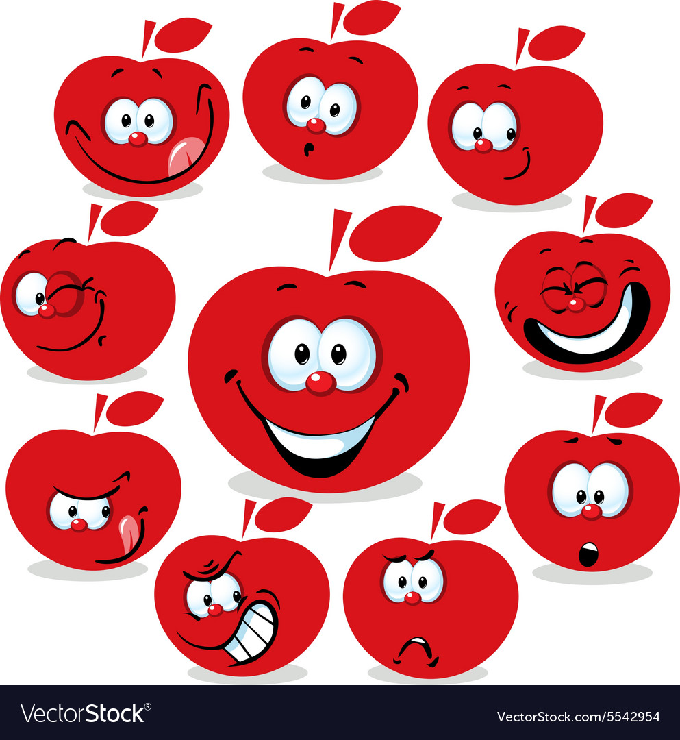 Red apple icon cartoon with funny faces isolated