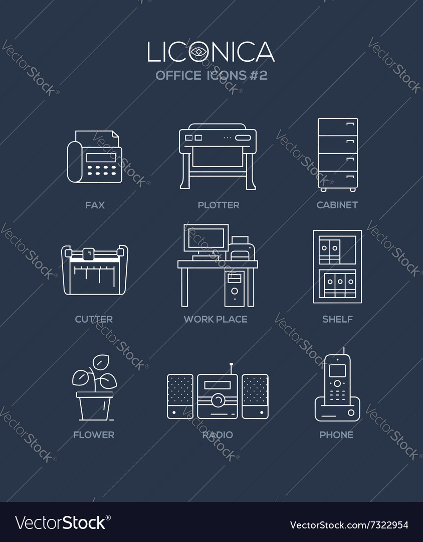 Set of modern office line flat design icons and