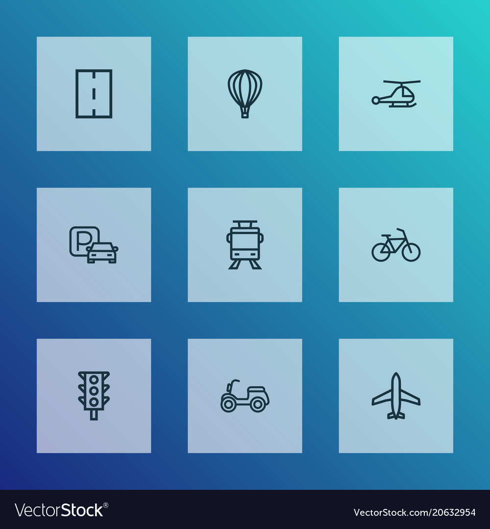 Transportation icons line style set with scooter vector image