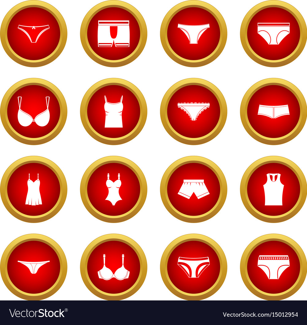 Underwear items icon red circle set vector image