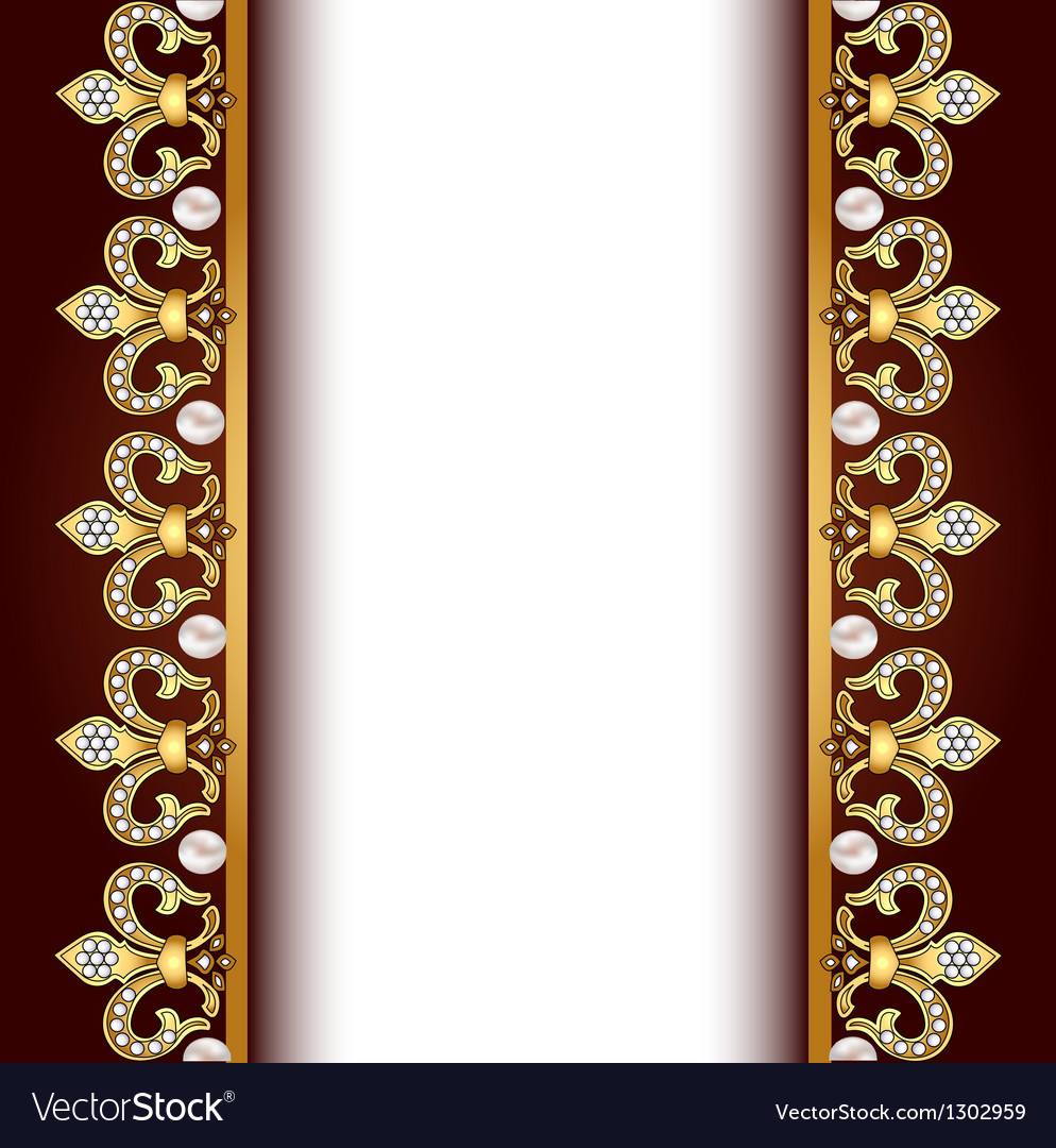 Background with gold ornaments and pearls vector image