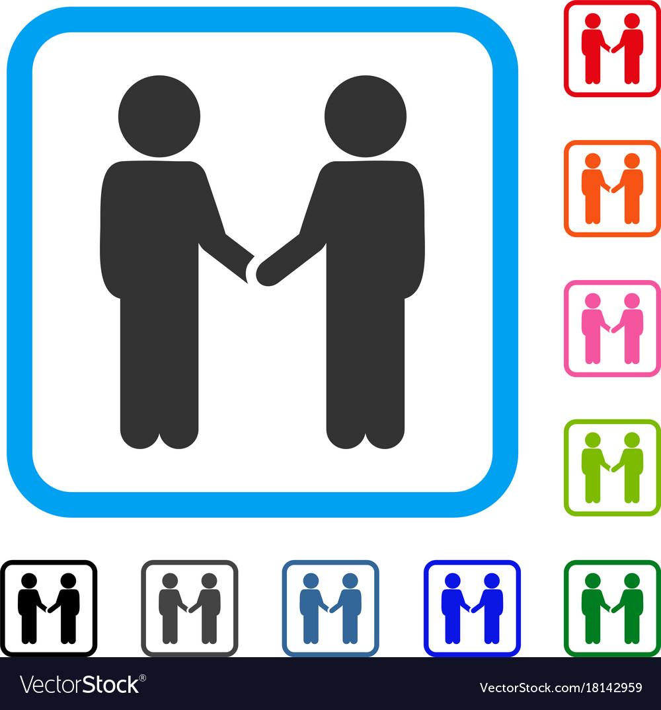 Children handshake framed icon