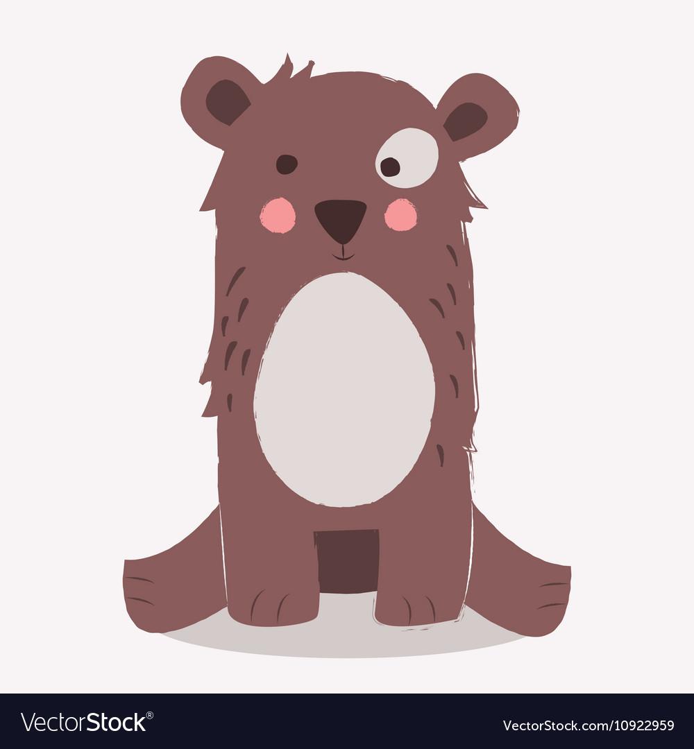 Cute brown bear sitting