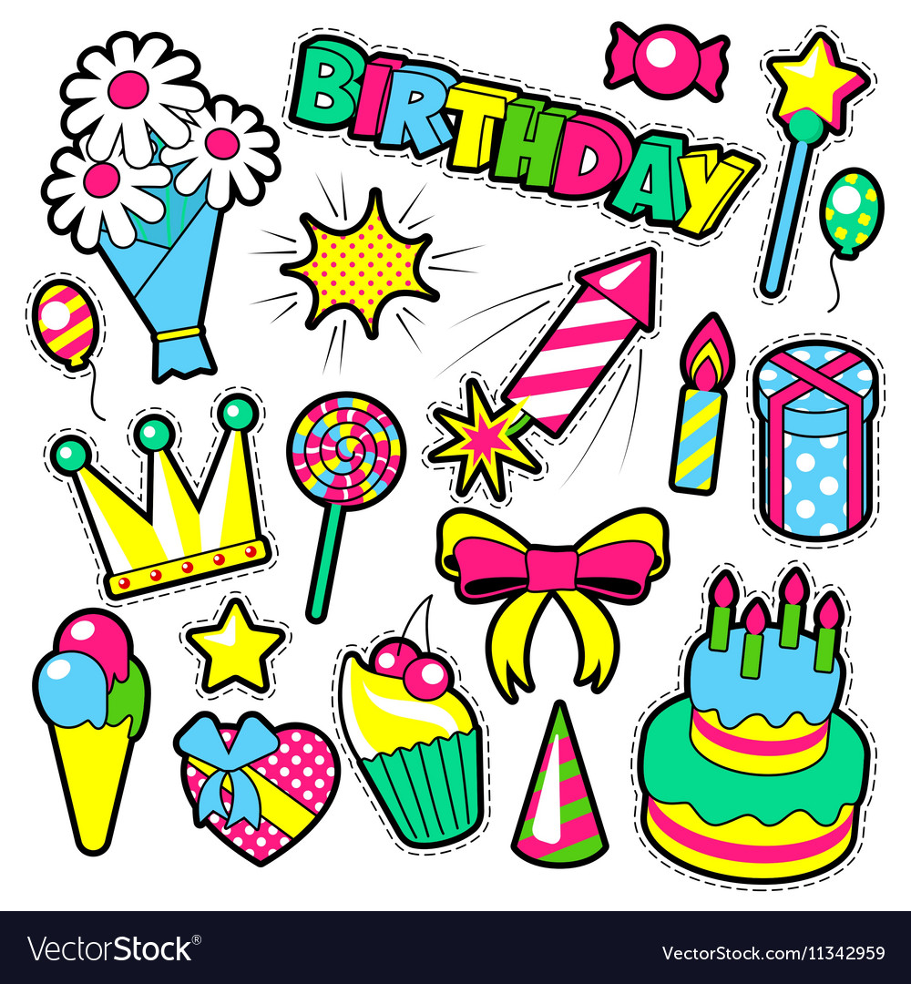 Fashion Badges Patches Stickers Birthday Theme