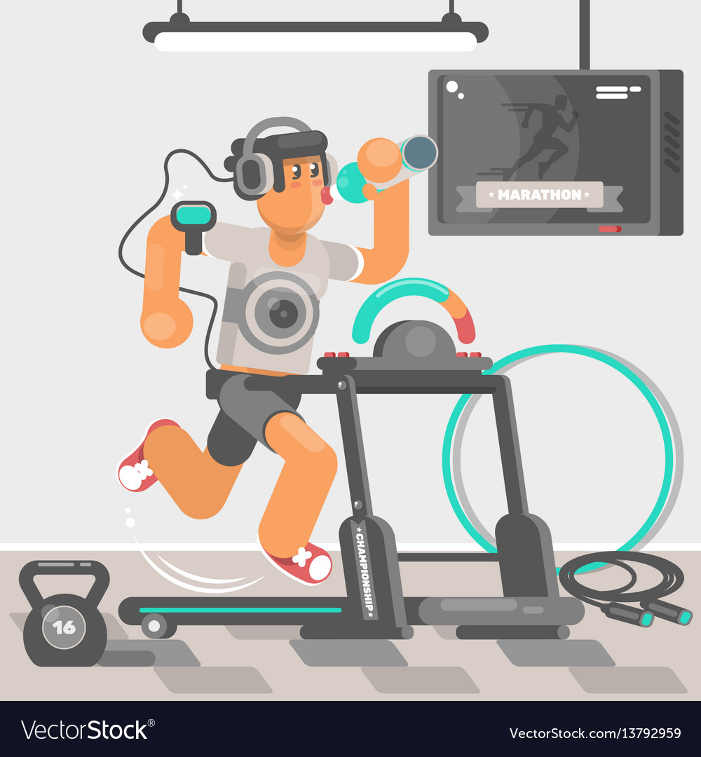 Man listening to music while running on treadmill