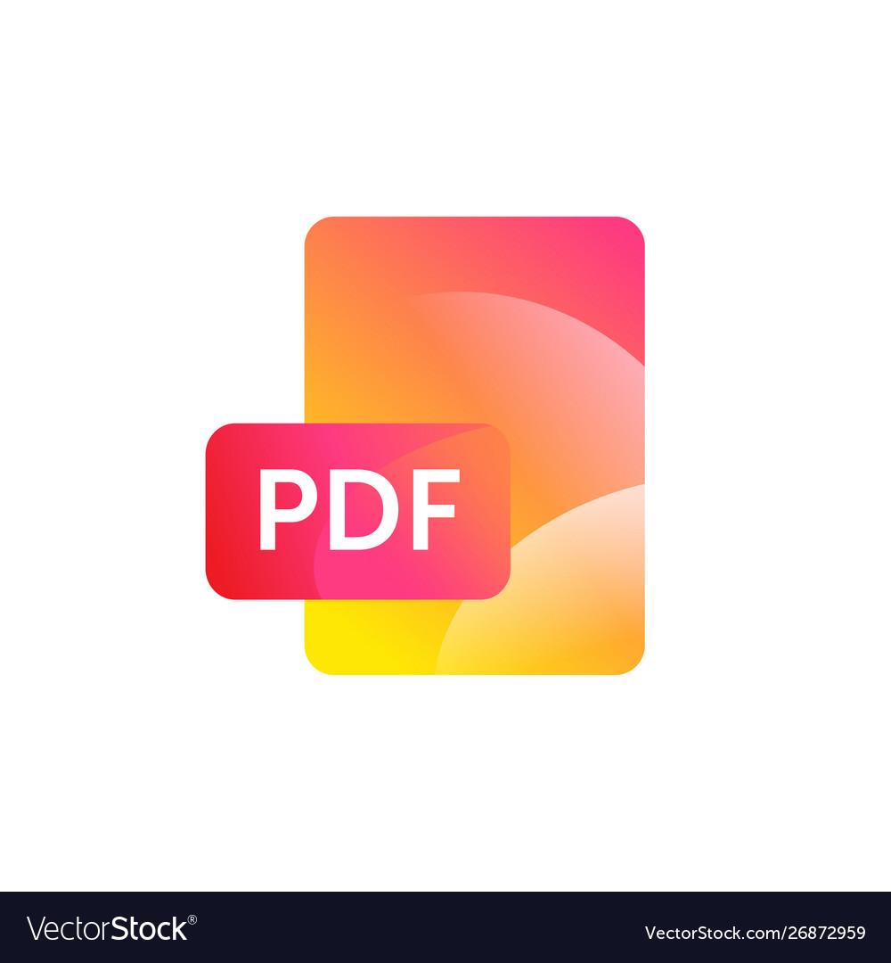 Pdf format icon gradient flat style bright
