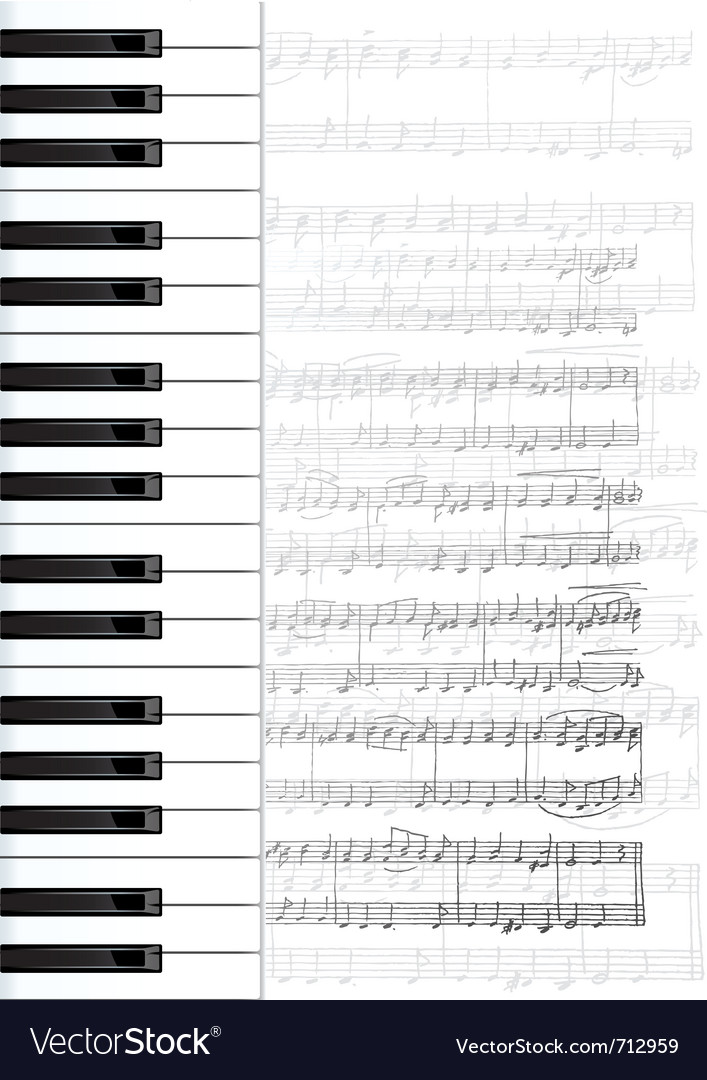 Piano keys and notes background