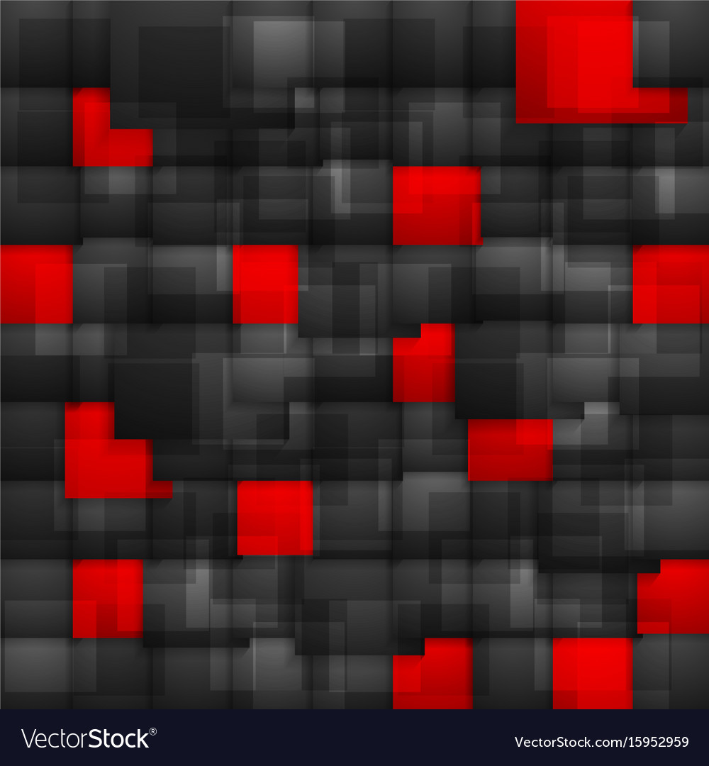 Red and black contrast squares tech background vector image