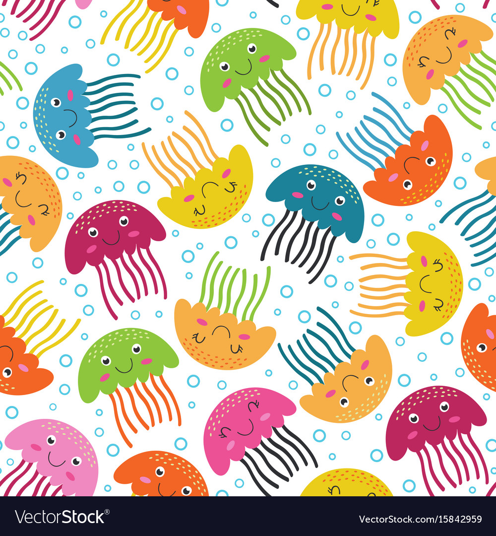 Seamless pattern with jellyfish