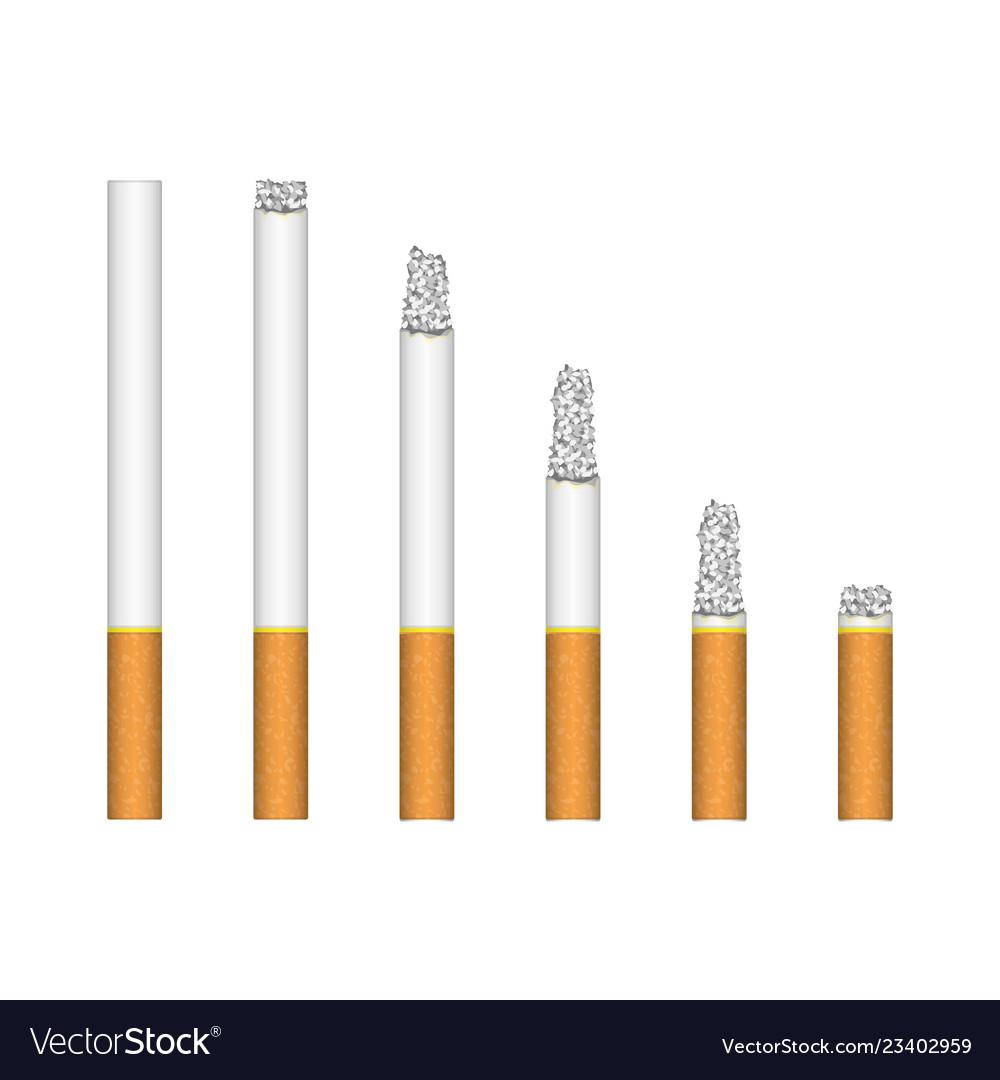 Set of burning cigarette