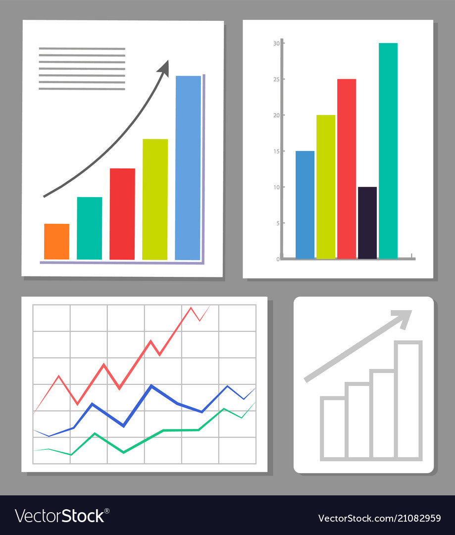Set of four charts colorful