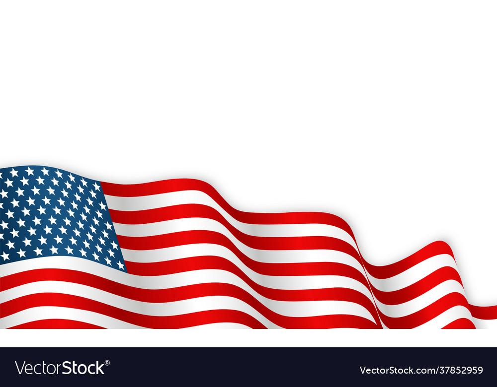 Usa flag waving on wind 4th july