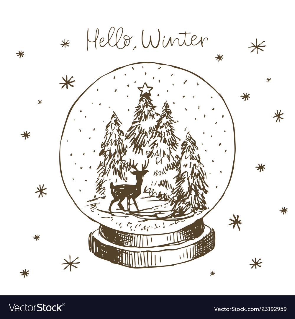 Winter snow globe with christmas tree deer vector