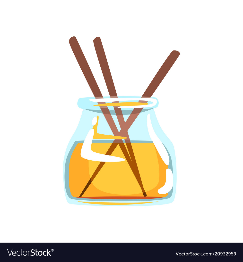 Wooden aroma sticks in glass jar with oil