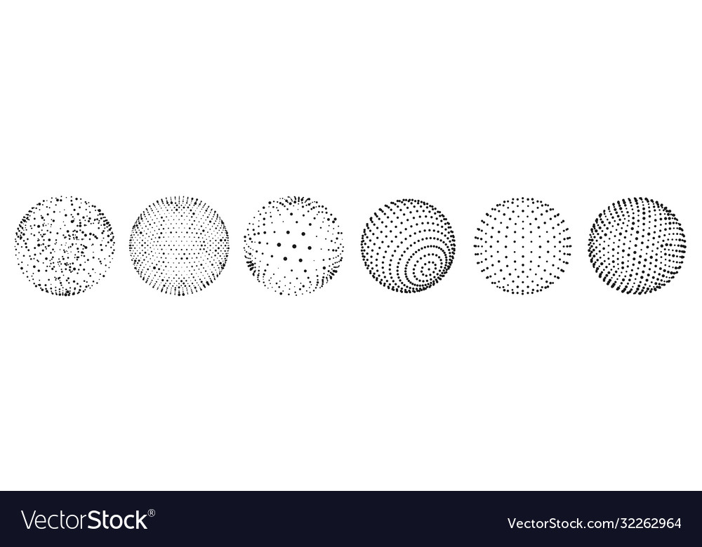 Abstract 3d dots sphere set