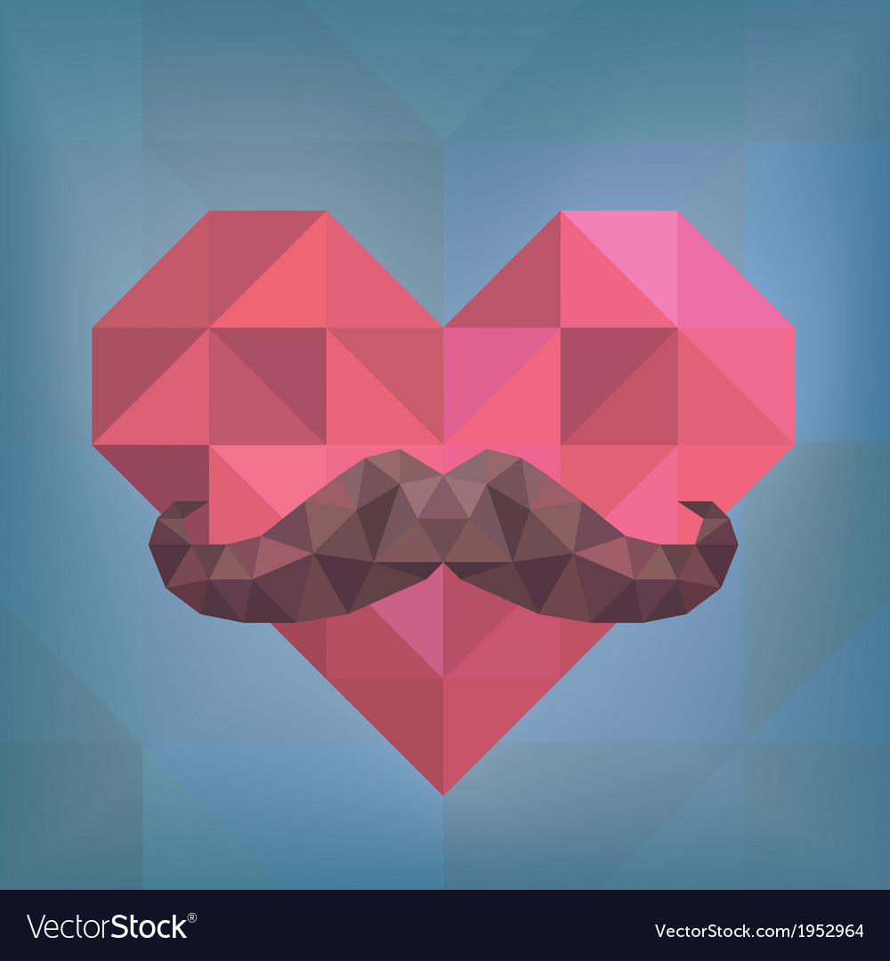 Abstract Hipster Moustache on Heart Background