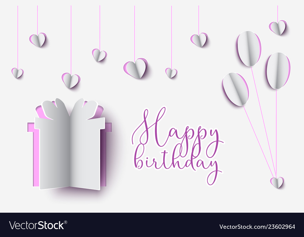 Birthday paper cut design of gift box with happy