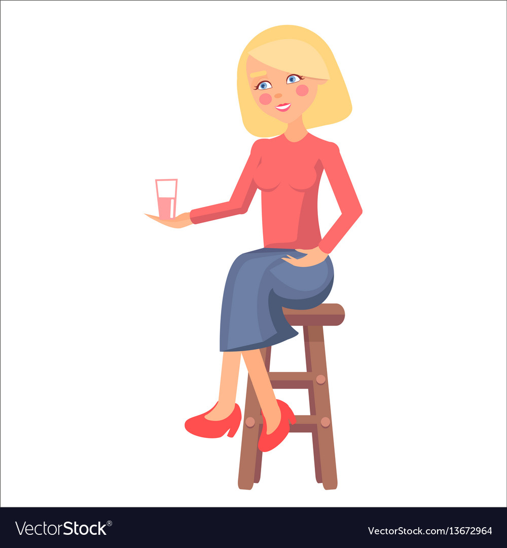 Blond pregnant woman with pink cheeks holds cup