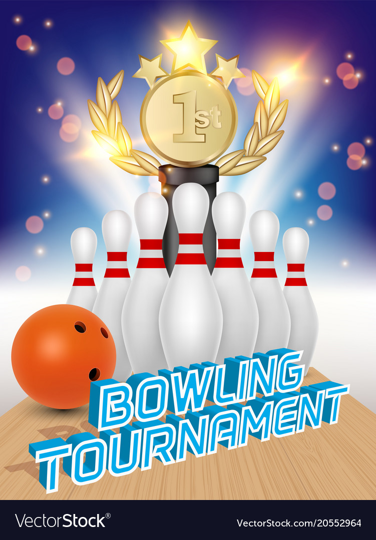Bowling tournament poster realistic
