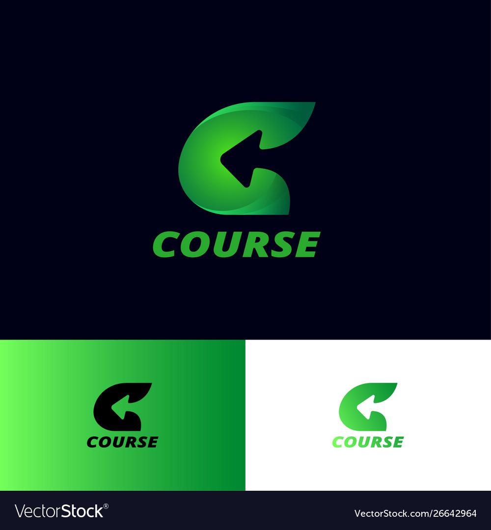 C letter arrow course logo logistic delivery
