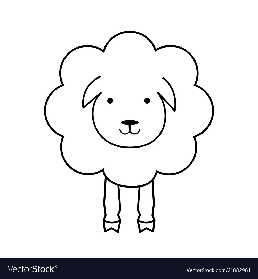 Cartoon sheep line outline icon wool textile