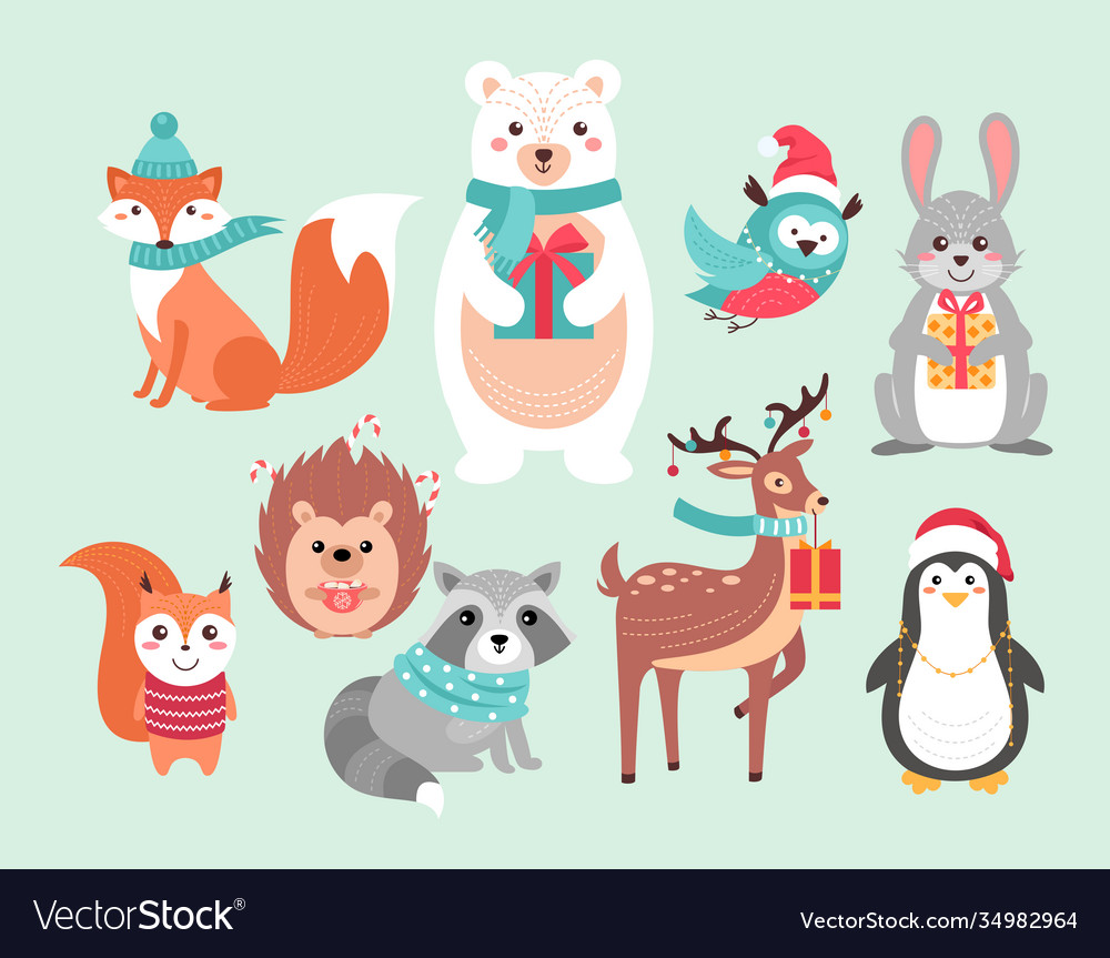 Christmas cute woodland animals