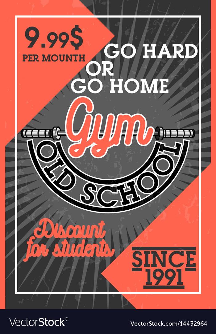 Color vintage gym banner vector image