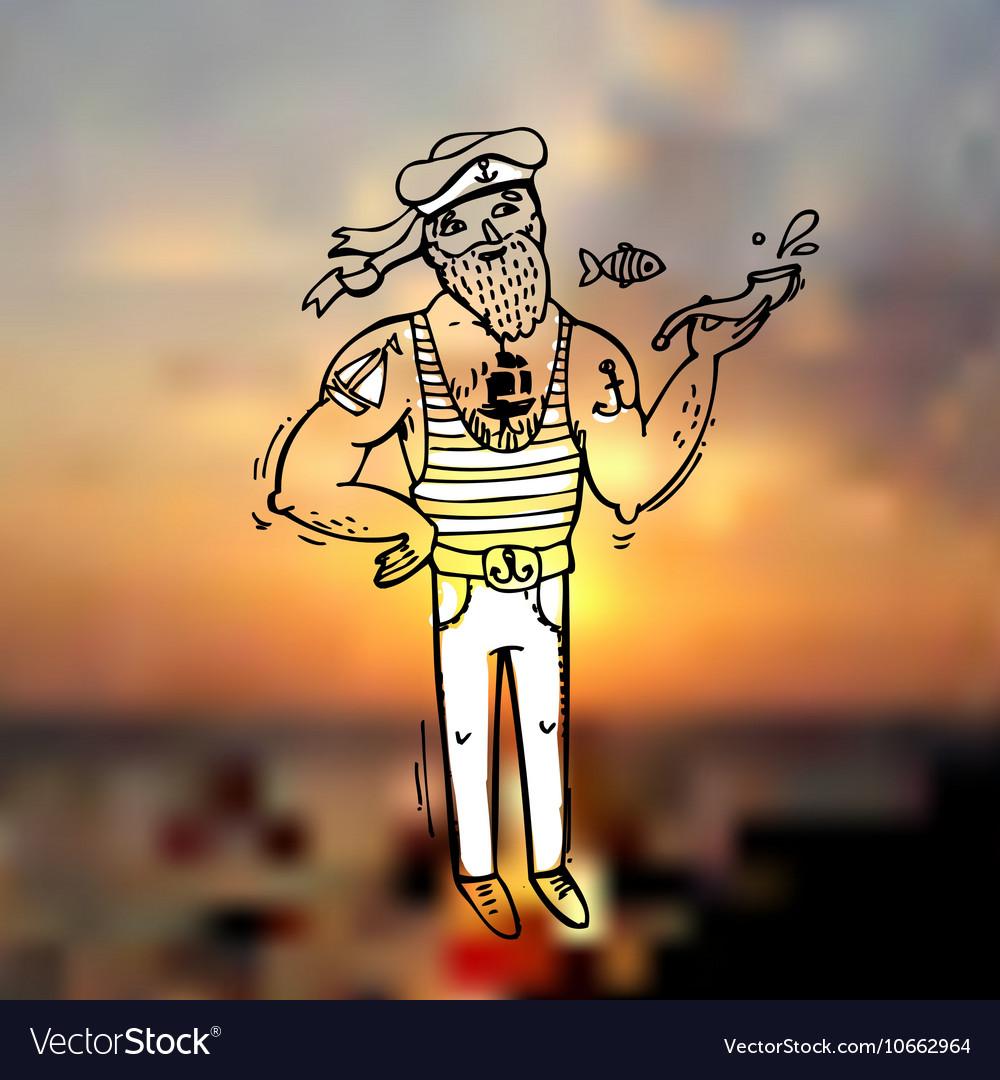 Doodle style sailor