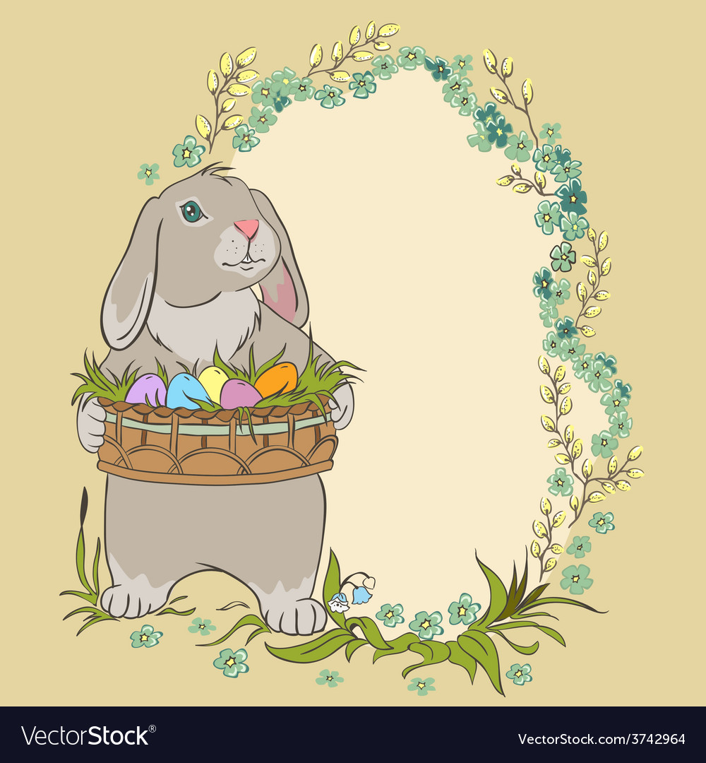 Easter bunny holding a basket with eggs Retro