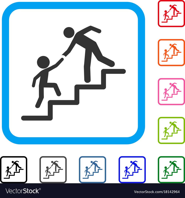 Education steps framed icon