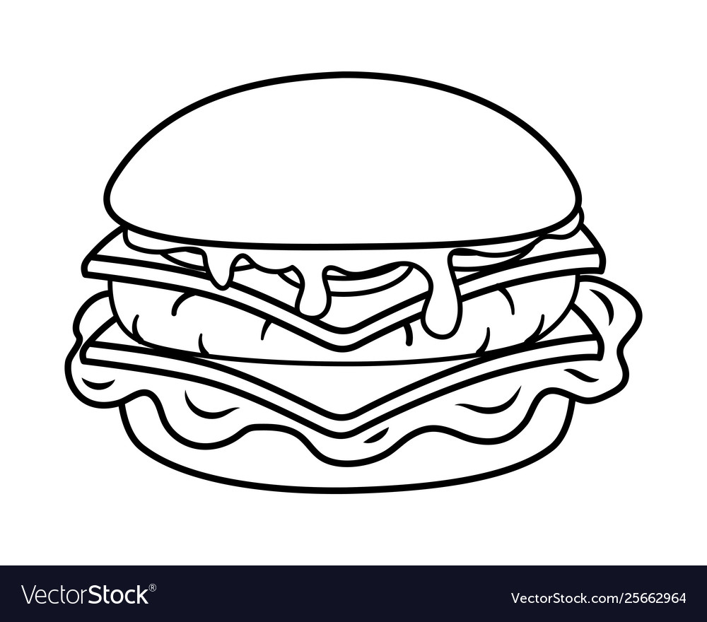 hamburger icon cartoon black and white royalty free vector vectorstock