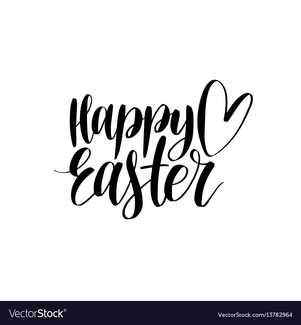 Happy Easter Calligraphy On White Royalty Free Vector Image