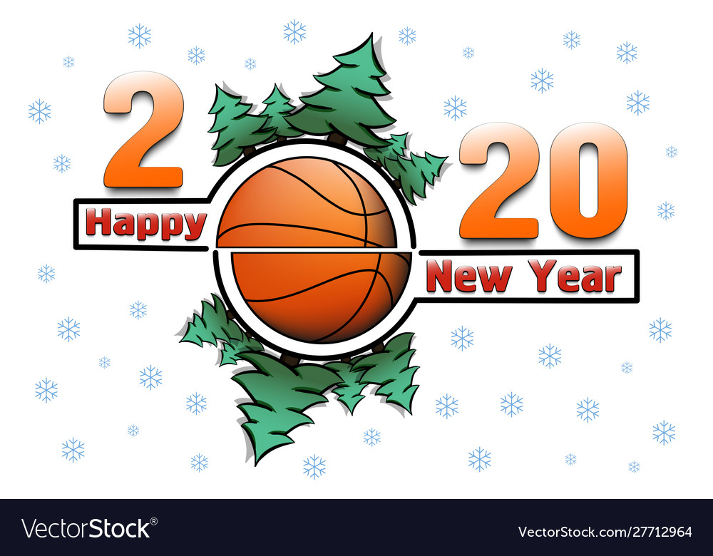 Happy new year 2020 and basketball ball Royalty Free Vector