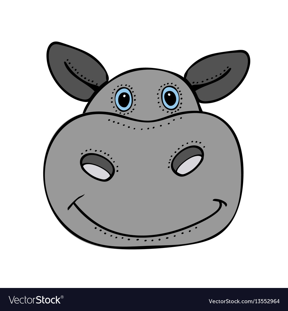 Hippo cute funny cartoon head