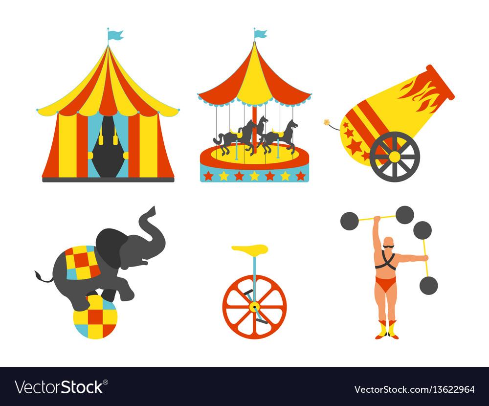 Set of circus icon vintage clip art set