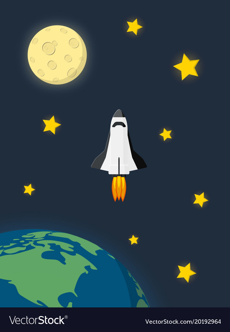 Space shuttle launched from earth and flying in