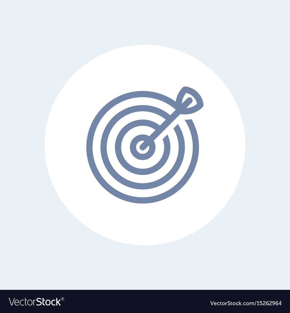 Target with arrow line icon isolated over white
