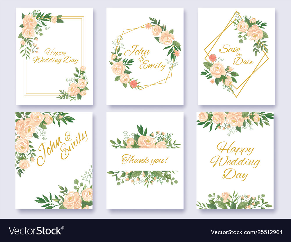 Wedding invitation floral card flowers frames