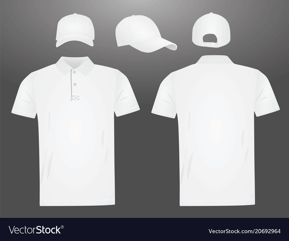 87cb3e748 White polo t shirt and baseball cap Royalty Free Vector