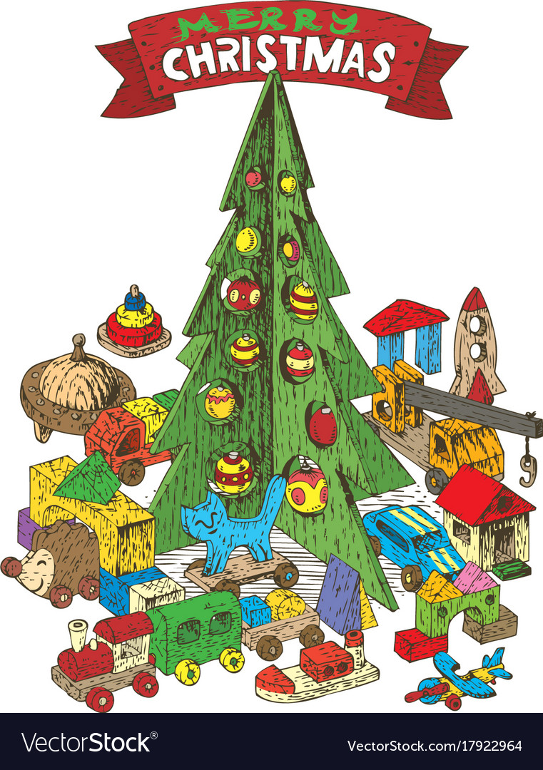 wooden christmas tree with toys vector image - Sign Up For Free Christmas Toys