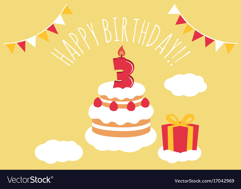 3 Years Old Birthday Card Vector Image