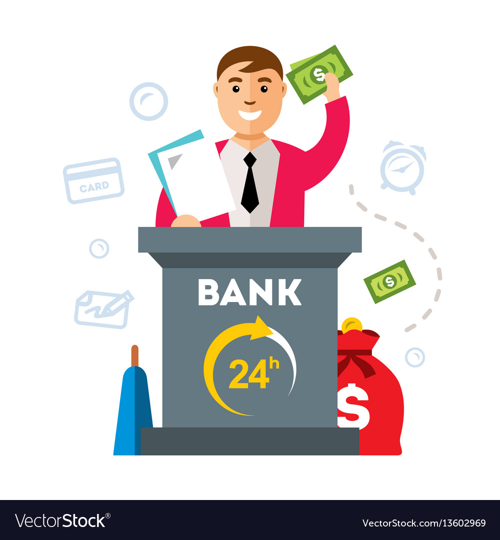 Bank finance agent flat style colorful