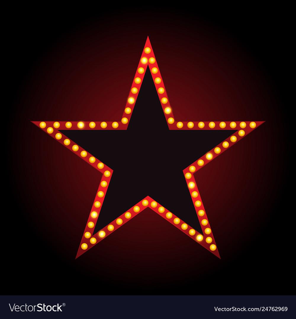 Brightly theater star glowing retro cinema