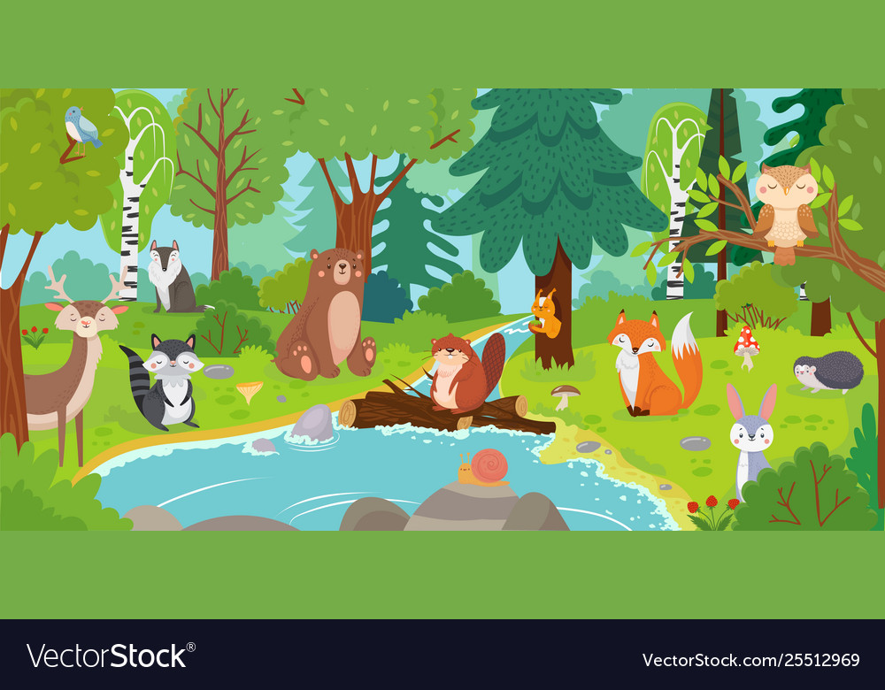 Cartoon forest animals wild bear funny squirrel