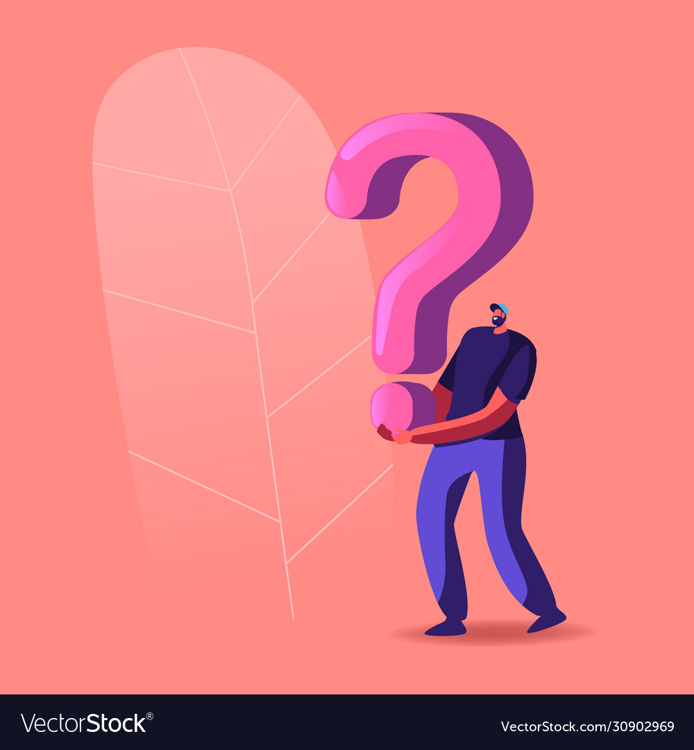 Character holding huge question mark solving