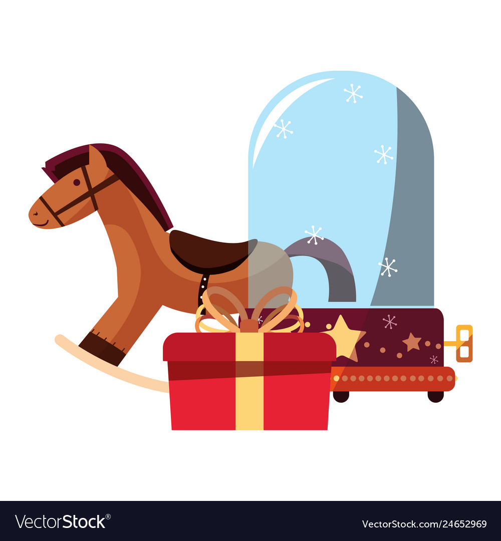 Christmas Rocking Horse Snow Globe And Gift Vector Image