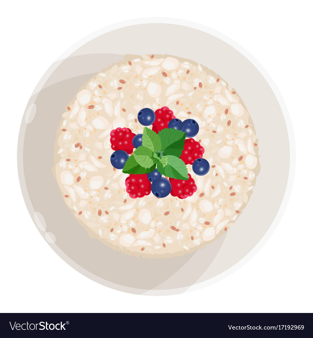 Closeup of oatmeal with fruits isolated