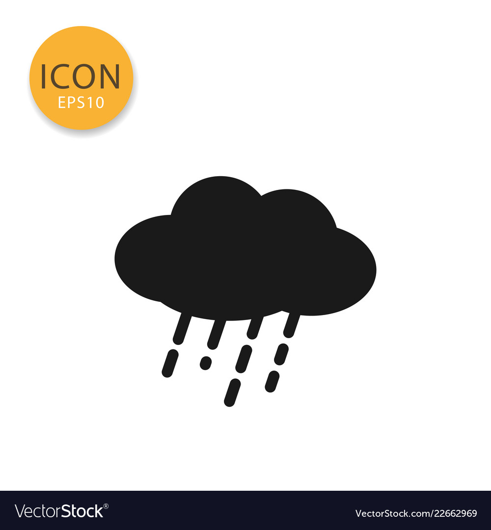 Cloud with rain icon isolated flat style