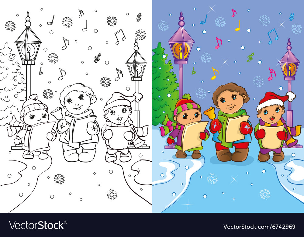 Coloring Book Of Children Sing Christmas Carols vector image